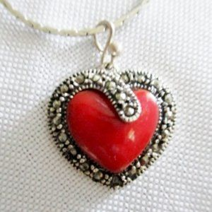 Jewelry - STERLING SILVER MARCASITE CARNELIAN HEART Necklace